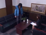 Sizzling Japanese office lady Akari Asahina gives a handjob picture 4