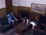Sizzling Japanese office lady Akari Asahina gives a handjob
