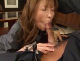Attractive Japanese office lady Akari Asahina blows and rides her boss picture 15