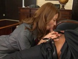Attractive Japanese office lady Akari Asahina blows and rides her boss picture 6