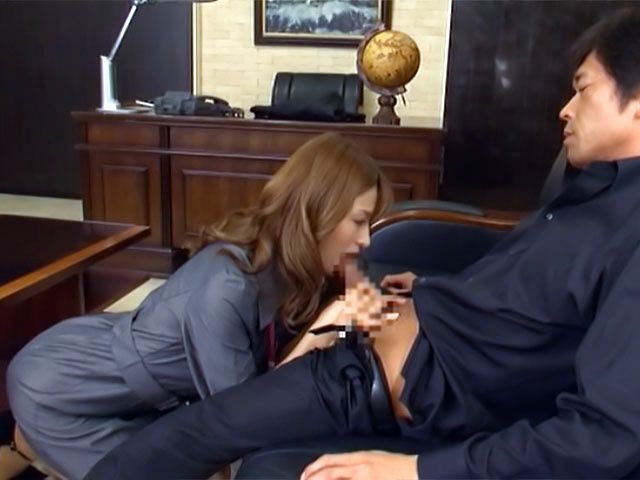 Attractive Japanese office lady Akari Asahina blows and rides her boss