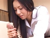 Young Asian babe Aino Kishi gets her toes licked and gives head picture 13