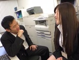 Long-haired Japanese milf gets fucked under a table picture 5