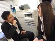Long-haired Japanese milf gets fucked under a table