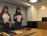 Kinky office chicks Riko Honda and Risa Kasumi pounded properly picture 12