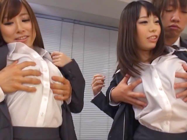 Kinky office chicks Riko Honda and Risa Kasumi pounded properly
