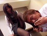 Hot office chick in black nylon pantyhose gives a foot job gets slammed