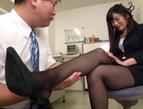 Horny Japanese office lady Rina Fukada gives incredible footjob picture 12