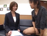 Beautiful office lady in sexy pantyhose Akari Asahina makes a guy jerk off picture 10