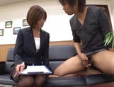 Beautiful office lady in sexy pantyhose Akari Asahina makes a guy jerk off picture 11