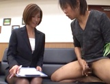 Beautiful office lady in sexy pantyhose Akari Asahina makes a guy jerk off picture 13