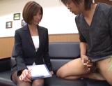 Beautiful office lady in sexy pantyhose Akari Asahina makes a guy jerk off picture 14