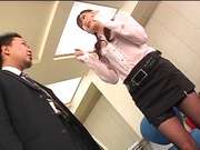 Japanese office bimbo bends her ass for the boss