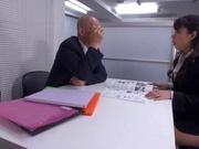Horny office lady fucks her horny boss under the table