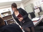 Kinky office lady banged on the table