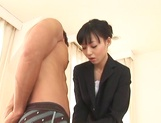 Petite sexy office lady Aino Kishi is happy to ride big cock picture 13