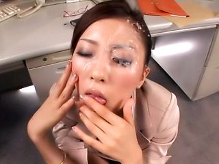 Superb office beauty blows cock like a goddess