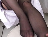 Sweet Japanese office lady Yuna Shiina teases cock with her lovely feet picture 12