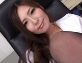 Sweet Japanese office lady Yuna Shiina teases cock with her lovely feet