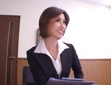 Skinny office lady Akari Asahina gets her boobs teased and pussy banged picture 11