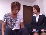 Skinny office lady Akari Asahina gets her boobs teased and pussy banged picture 14
