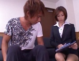 Skinny office lady Akari Asahina gets her boobs teased and pussy banged picture 15