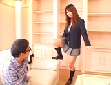 Sexy Asian schoolgirl Ai Sayama masturbates in front of a guy picture 12