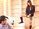 Sexy Asian schoolgirl Ai Sayama masturbates in front of a guy picture 13