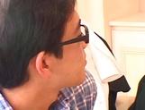 Sexy Asian schoolgirl Ai Sayama masturbates in front of a guy
