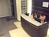Threesome session in the office with sexy babes