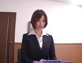 Asian office lady Akari Asahina gets her horny pussy licked picture 10