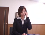 Asian office lady Akari Asahina gets her horny pussy licked picture 12