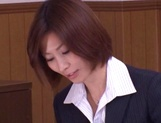 Asian office lady Akari Asahina gets her horny pussy licked picture 13