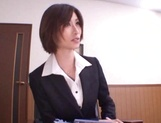 Asian office lady Akari Asahina gets her horny pussy licked picture 14