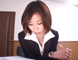Asian office lady Akari Asahina gets her horny pussy licked picture 1
