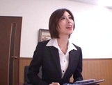 Asian office lady Akari Asahina gets her horny pussy licked picture 6