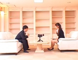 Horny Asian babe Ai Sayama sucks and jerks off a guy on the sofa picture 11