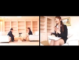Horny Asian babe Ai Sayama sucks and jerks off a guy on the sofa picture 15