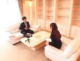 Horny Asian babe Ai Sayama sucks and jerks off a guy on the sofa
