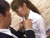 Cock starved Japanese office lady tempts her colleague and enjoys sex picture 13