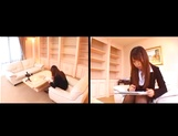 Kinky office lady Ai Sayama strips and give her guy a hand job picture 2