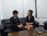 Sassy Asian babe gets nailed in office