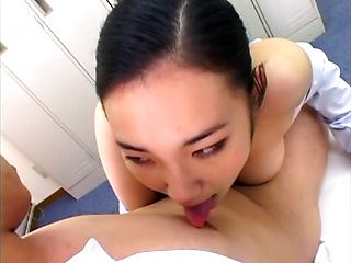Naughty Asian office worker gives amazing blowjob to her boss