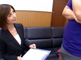 Horny Japanese office lady Akari Asahina is going to explore cock of the guy