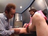 Sexy office lady, Maria Fujisawa, in fancy pink costume gets banged