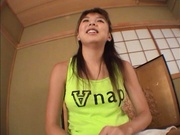 Hottie with bubble ass Mai Hagiwara sucks cock on pov gets cum on ass
