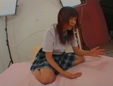 Unsatisfied Japanese schoolgirl with big tits Ami Asabuki gets banged picture 4