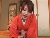 Japanese milf in sexy red kimono gets hardcore banging picture 11