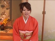 Japanese milf in sexy red kimono gets hardcore banging