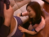 Milf with big perky tits Emi Harukaze rides on cock exposing nice ass